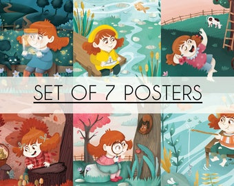 SET of 7 POSTERS, Little Jade, poster print, nursery room, kids room, children illustration