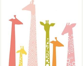 "SUMMER SALE 11X14"" giraffe silhouettes giclée print on fine art paper. pink, orange, green, yellow"