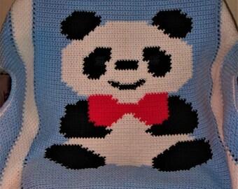 Panda Afghan Baby Blanket Lapghan Blue