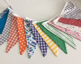 Bright rainbow bunting Fabric Bunting / Fabric Garland / Banner - 14 flags 9ft 6in inc ties, rainbow bunting
