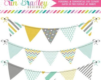 80% OFF SALE Bunting Banner Flag Clipart Commercial Use Clip Art Graphics Aqua Gold Gray Instant Download