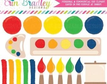 80% OFF SALE Art Party Clipart Kids Painting Party Clip Art Set Paint Brushes Paint Streaks Painting Palette Art Easel