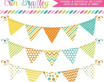 80% OFF SALE Bunting Digital Clipart Banner Flag Graphics Orange Yellow Blue Green Commercial Use Instant Download