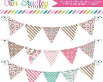 80% OFF SALE Commercial Use Clipart Graphics Digital Bunting in Pink Blue & Brown Instant Download Banner Flag Clip Art