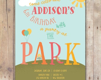 Party at the Park - Custom DIGITAL Birthday Party Invitation, any age GIRL