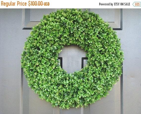 SUMMER WREATH SALE Boxwood Wreath- Summer Wreaths- Outdoor Decor- Wall Art- Shabby Chic Decor- Faux Boxwood Wreath-Wedding Wreath- Spring De