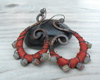 Silk Wrapped Spiral Earrings, Medium, Burnt Orange and Grey, Bohemian Hoops, Dark Copper Dangles, with Sterling Ear Wires