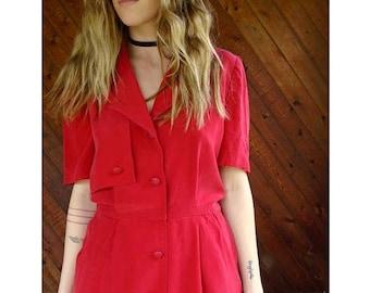15% Memorial Day Wknd ... Red Silk Secretary Mini Shirt Dress - Vintage 90s - S/M Petite