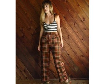 15% Memorial Day Wknd ... Plaid Brown High Waist Trousers Pants - Vintage 70s - S/M Petite