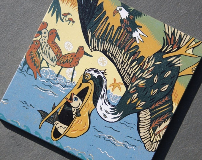 """Pelican, red knot, eagle, oceanic, affordable art print on wood, 6"""" x 6"""" square ready to hang"""
