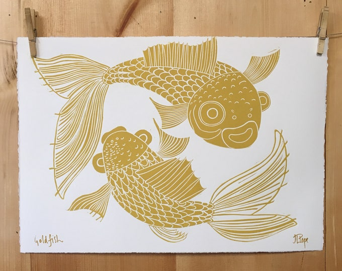 Goldfish, koi fish, gold ink, asian inspired, woodcut print, block print, original art by Jenny Pope, modern wall art, contemporary animal