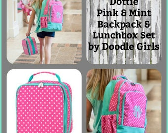 2 piece Hot pink and Mint Dottie Backpack and Lunchbox set.  Girls Monogram backpack. Monogram lunchbox.