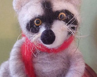 Reggie Raccoon Felted Wool Ornament - NEW for 2018
