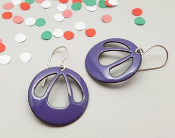 Purple Dangle Earrings - Big Purple Earrings - Purple Enamel Earrings - Modern Enamel Jewelry / Bell Flower