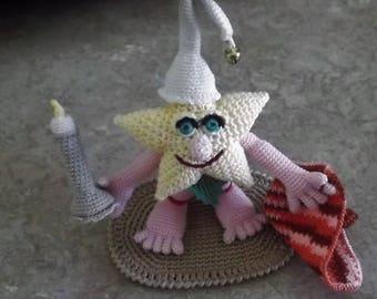 Bonnie's OOAK Crochet Cotton Thread Item Sleepy Star Doll in Leafy Apparel Rug Night Cap Blanket Candle -- Not A Toy