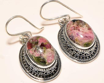 Natural Tourmaline Sterling Silver Filigree Oval Earrings - Stimulate Kundalini Activation