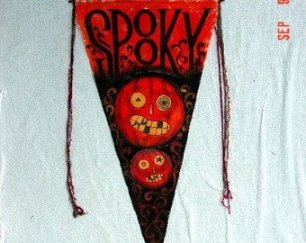Painted Just for You-Halloween Banner jack o lanterns SPOOKY primitive vintage style