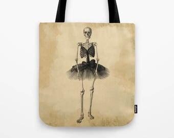 Skeleton Ballerina Tote Bag 16x16