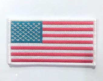 "MAGENTA 3.5"" x 2"" NATION PATCH, American Flag, Patriotic Patch, Embroidered Patch"