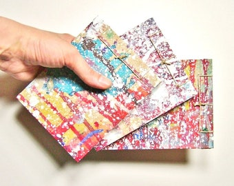 Trio of Mini Artist's Sketchbooks, Multicolored Spatter, Stab Bound with Up Cycled Materials and Hand Painted Covers