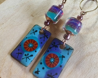 Boro & Enameled Copper Dangles