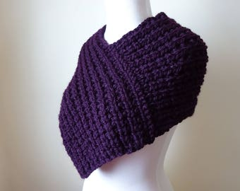 Knit Cowl, Knit Neck Warmer, Textured Rib Stitch Cowl Neck Warmer in Eggplant - Wool Blend - Soft Cowl - Warm Cowl - Gift for Her