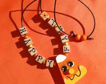 Happy Fall Necklace Candy Corn Necklace Hand Painted Necklace Autumn Necklace Halloween Necklace Child's Jewelry Fall Jewelry Kid's Necklace