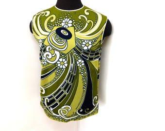 Vintage 60s Mod Psychedelic Sleeveless Sweater Tank Top Summer Geometric Green Mad Men Retro Stretchy M Medium