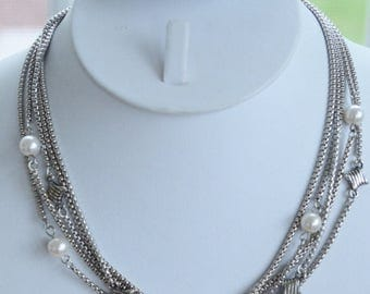 "ON SALE Pretty Vintage Faux Pearl, Silver tone Multi-Strand Chain Necklace, 16-3/4""  (AN10)"