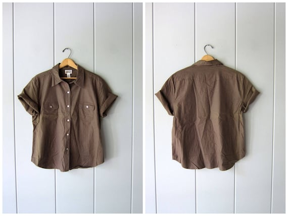 Vintage 90s Drab Green Cotton Shirt Short Sleeve Button Up Tee Shirt Hipster Minimal Boho Shirt Oversized Top Army Green Shirt Womens XL