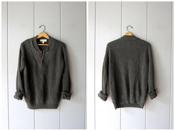 Oversized Dark Green Sweater Button Up Henley Slouchy Boyfriend Pullover Ribbed Cotton Knit Sweater Chunky Sweater Mens Medium Regular
