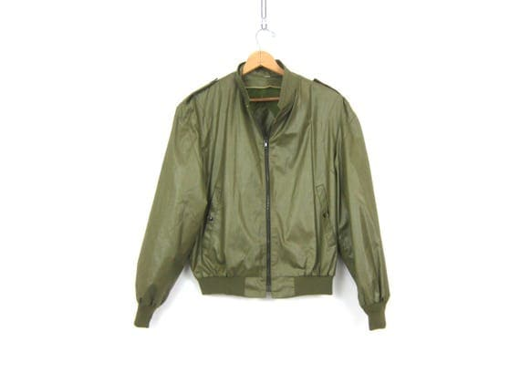 Mens Army Green Jacket Casual Fall Coat Urban Street Style Hipster Cafe Jacket Zipper Coat Mans size 42 Large XL