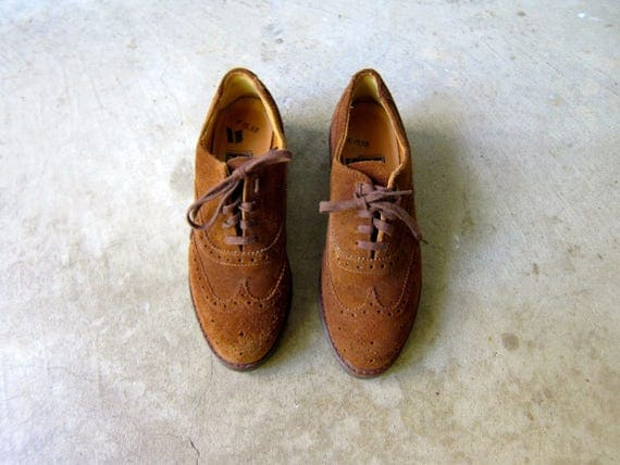 Vintage Oxfords Brown Suede Shoes POLO Wingtips Chunky Leather Oxfords Ralph Lauren Lace Up Brogue Shoes Preppy Fall Wing Tips Womens size 7