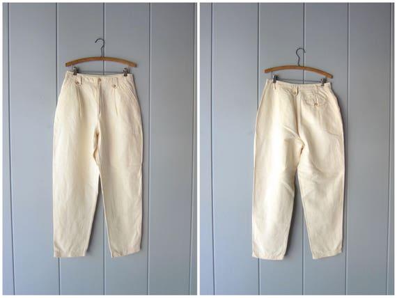 "80s Cotton Linen Pants Vintage High Waist Pants Minimal Natural White Trousers Modern White Basic Pants Womens size 12 / 30"" waist"
