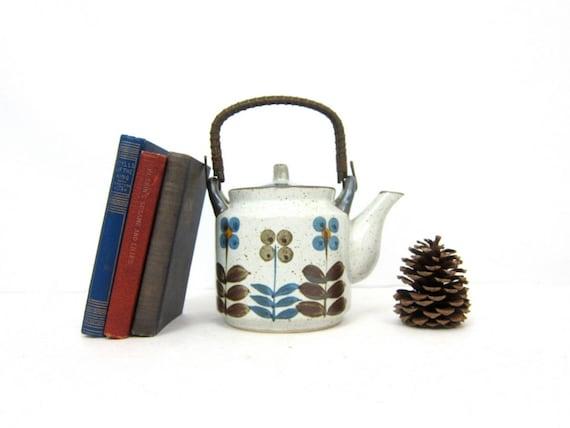 Vintage Painted Floral Teapot Gray Earthy Kitchen Decor Modern Ceramic Pottery Kettle Ranch Home Serving Tea Pot GS