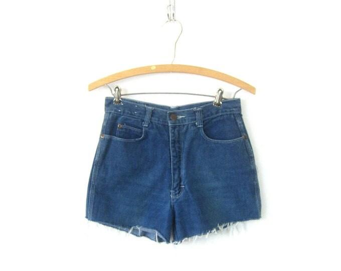 80s Blue Jean Shorts High Waist Cut Off Scrambler Denim Shorts Vintage 1980s MOM Shorts Frayed Hipster Boho Womens JR Size 7 28 inch waist