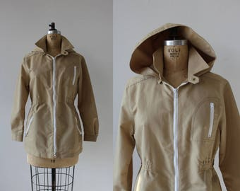 vintage trench jacket / 70s 80s London Fog jacket / 70s hooded jacket / 70s light weight jacket / 80s canvas jacket / beige trench / M L