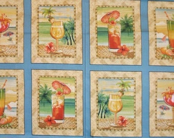 """24"""" Fabric Panel - Quilting Treasures Paradise Delights Tropical Drinks Blue"""