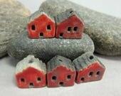 5 Raku House Beads...Red