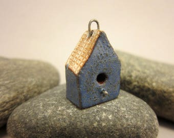 BirdHouse Pendant...Textured Blue Walls / Eggshell Roof