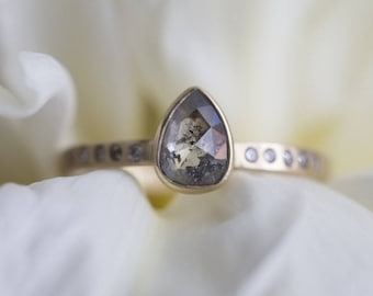 Natural Grey Salt + Pepper Diamond Ring with Pavé Band