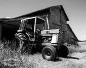 Rustic Farmhouse Decor, Landscape Photography, Farm Photograph, Photo of a Tractor, Barn Picture, Black and White Print, Adirondacks, Grey