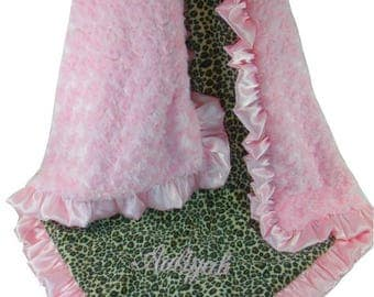 SALE Pink Cheetah Minky Blanket Baby Blanket, Pink Minky Swirl, Satin Ruffle, Blanket, available in three sizesCan Be Personalized