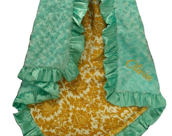 SALE Saltwater Swirl and Gold Damask Minky Baby Blanket, Mustard Yellow Minky Swaddle Blanket
