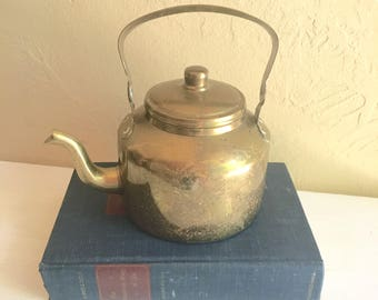 Vintage Brass Tea Kettle Teapot with Handle