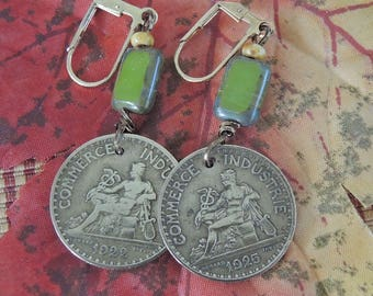 French Coin Earrings, 1 Franc Coins, Olive and Copper Earrings, Lever Back Earrings - REDUCED