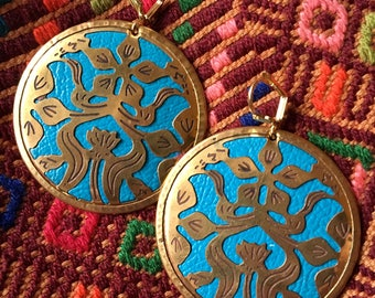 RICHARME Turquoise and Gold Disc Earrings Large Floral Design from India