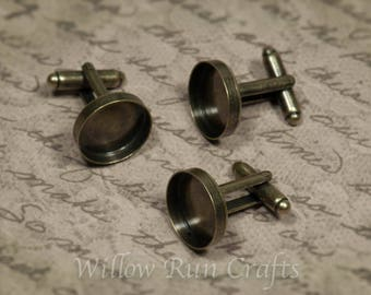 20 pcs 16mm Antique Bronze Cuff links (10 pairs), 16 mm bezel tray (07-14-392)