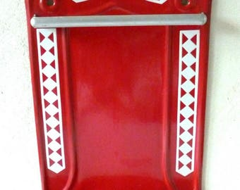 Rare Antique Vintage French Enameled Wall Utensil Rack ~ LUSTUCRU Red with White Checks