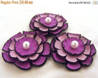 50% OFF SALE Jewelry supplies leather layered flowers for pendants, necklaces, brooches, shoes clips etc Handmade supplies